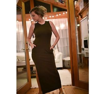 Olive Maxi Dress with Pockets and Side Slit Size L